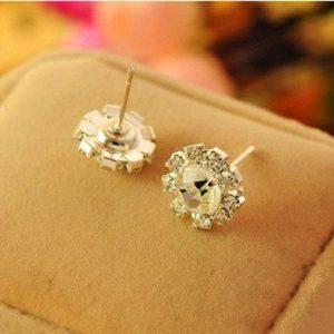 Klasikinio stiliaus auskarai su kristalu