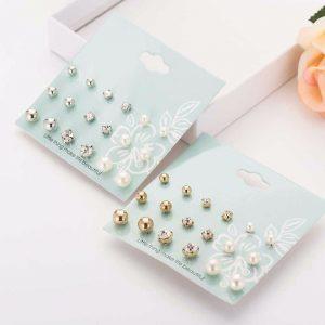 Stilingų perlų ir kristalų imitacijos auskarų rinkinys