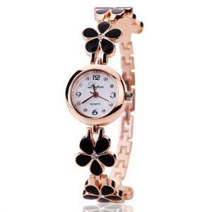 """Aukso spalvos, moteriškas laikrodis ,,Gėlės"""""""