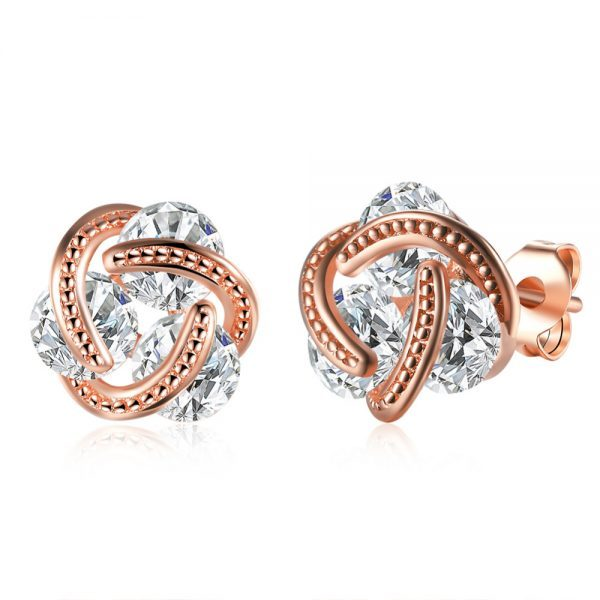 Rožinio aukso spalvos auskarai