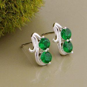 """Sidabriniai auskarai ,,Žali kristalai"""""""