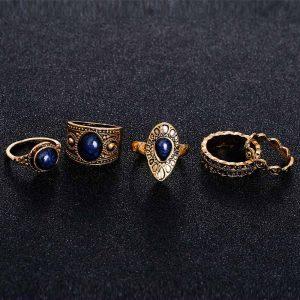 5 vienetų turkiško stiliaus žiedų rinkinys