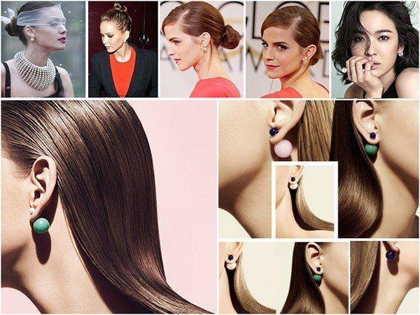 Įvairių spalvų perlų formos imitacijos auskarai