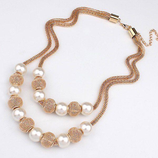 Dvigubas perlų imitacijos kaklo papuošalas