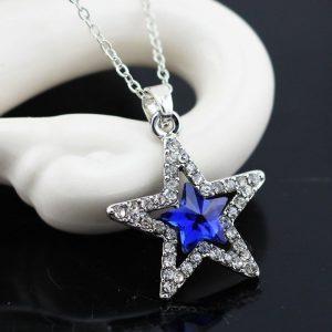 Austriško kristalo žvaigždės formos kaklo papuošalas