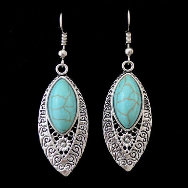 Bohemiško stiliaus auskarai su turkio akmenėliu