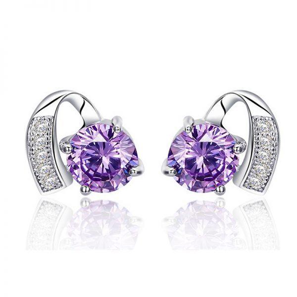 """Sidabriniai auskarai ,,Violetinis kristalas"""""""