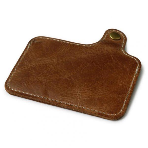 Odinis kortelių dėklas, rudos spalvos