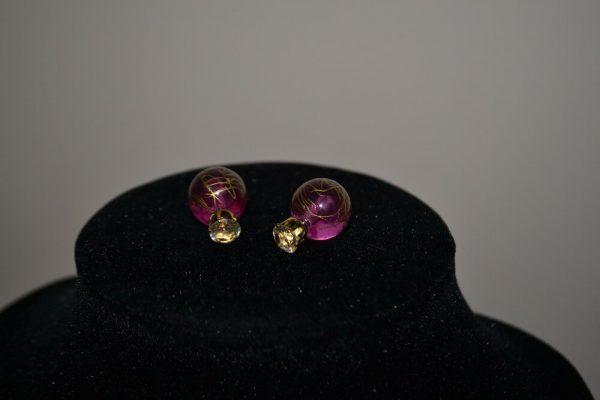 """Išskirtinio dizaino auskarai """"Purpurinis rytas"""""""