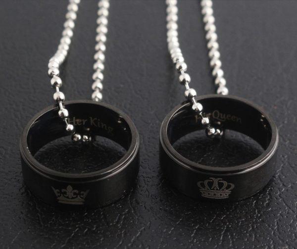 """Kaklo papuošalų rinkinys porai ,,King and Queen rings"""""""